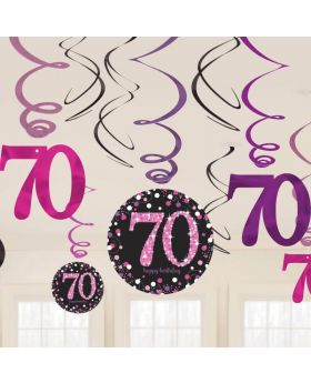 Pink Sparkling Celebration 70th Birthday Swirl Decorations, pk12