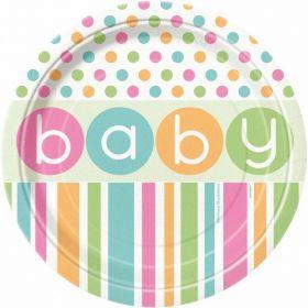 Pastel Baby Shower Plates 18cm, pk8