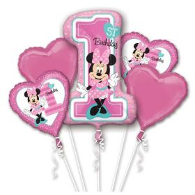Minnie Mouse 1st Birthday Bouquet Foil Balloons, pk5