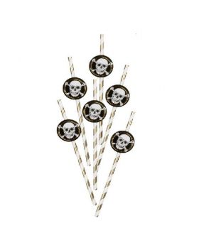 Black & Gold Pirate Paper Straws, pk6