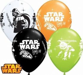 Darth Vader & Yoda Assorted Latex Balloons, helium quality, pk6