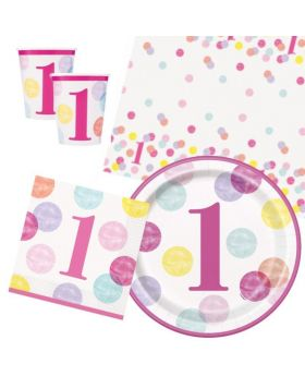 Pink Dots 1st Birthday Tableware Pack for 16