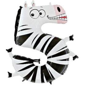 """Age 5 Zebra Foil Balloon 40"""""""