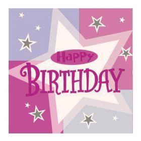 Pink Shimmer Happy Birthday Party Napkins 33cm x 33cm
