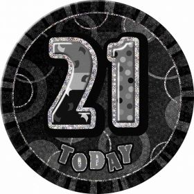 Black Glitz Giant 21st Today Birthday Badge