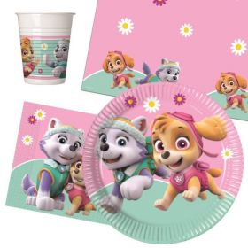Pink Paw Patrol Party Tableware Pack for 8