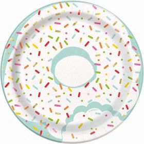 Donut Party Paper Round Plates 18cm, pk8