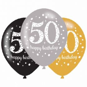 Gold Sparkling Celebration 50th Latex Balloons, pk6