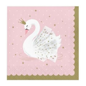 Swan Party Napkins 33cm x 33cm, pk16