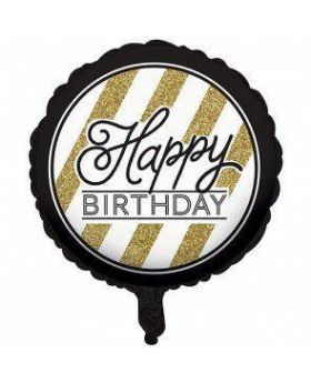 Black & Gold Foil Balloon Happy Birthday