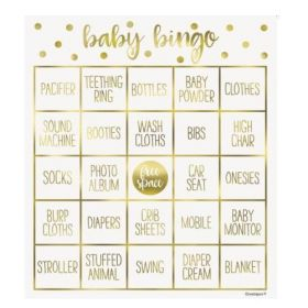 Gold Hello Baby Bingo Game for 8