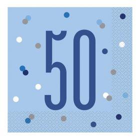 Glitz Blue Age 50 Napkins 33cm x 33cm, pk16