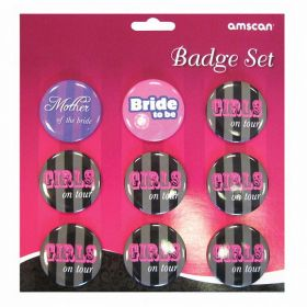 Hen Night Party Badge Sets, pk9