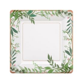 Love & Leaves Metallic Paper Plates 18cm, pk8
