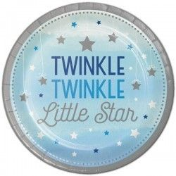 One Little Star Boy Paper Plates pk8, 23 cm