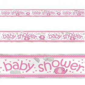 Umbrellaphants Pink Foil Baby Shower Banner 3.65m