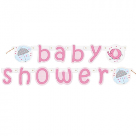 Umbrellaphants Pink Jointed Baby Shower Banner