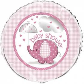 Umbrellaphants Pink Baby Shower Foil Balloon 18""