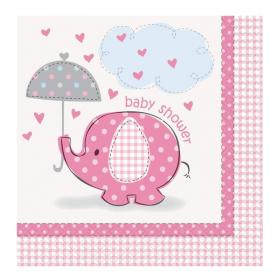 Umbrellaphants Pink Baby Shower Napkins