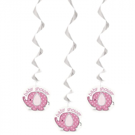 Umbrellaphants Pink Baby Shower Hanging Swirl Decorations