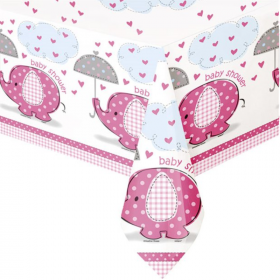 Umbrellaphants Pink Baby Shower Tablecover