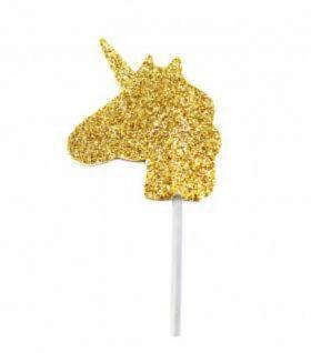 Gold Glitter Unicorn Cupcake Toppers pk12