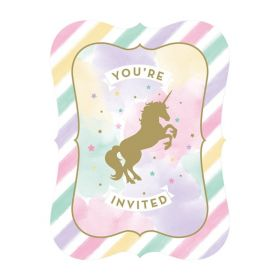 Unicorn Sparkle Party Invitations, pk8