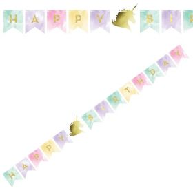 Unicorn Sparkle Foil Stamp Shaped Banner with Twine