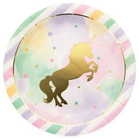 Unicorn Sparkle Paper Party Plates, pk8