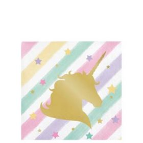 Unicorn Sparkle Foil Stamp Beverage Napkins pk16 25.4 x 25.4 cms
