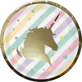 Unicorn Sparkle 7ins Paper Party Plates pk8