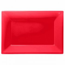 Apple Red Plastic Serving Trays, 3pk