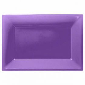 Purple Plastic Serving Trays, 3pk