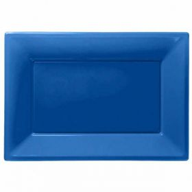 Bright Blue Plastic Serving Trays, 3pk