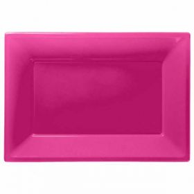 Bright Pink Plastic Serving Trays, 3pk