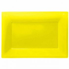 Sunshine Yellow Plastic Serving trays, 3pk