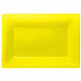 Sunshine Yellow Plastic Serving trays, 3pk