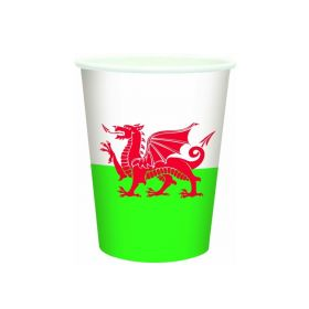 Wales Flag Paper Party Cups 8 Pack