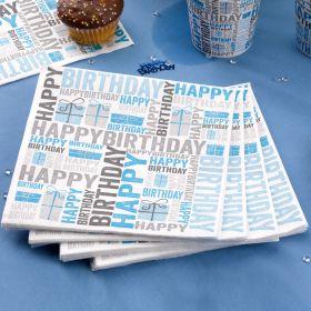 Happy Birthday Blue Napkins pk20