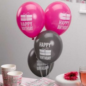 Happy Birthday Pink Balloons, pk8