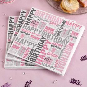 Happy Birthday Pink Napkins pk20