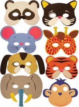 Soft Animal Masks, 8 Assorted