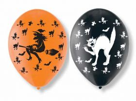 Witches & Cat Latex Balloons, 6pk