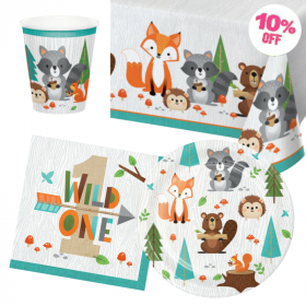 Wild Woodland 1st Birthday Party Tableware Pack for 8