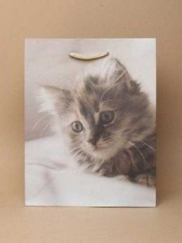 Grey Cat Print White Gift Bag