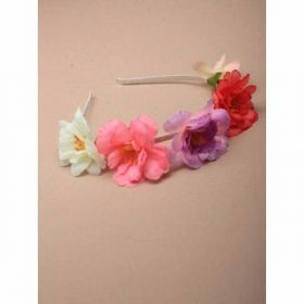 Narrow Pastel Ribbon Wrapped Aliceband with fabric wild rose detail