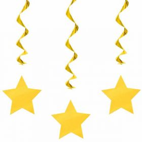 Sun Yellow Swirls with Stars Hanging  Party Decorations x 3