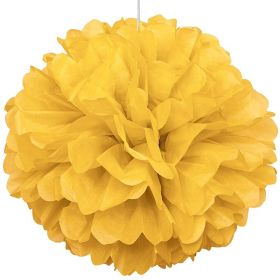 Yellow Paper Puff Ball Party Decoration 40cm