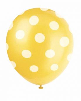 Yellow Polka Dot Party Balloons 6pk