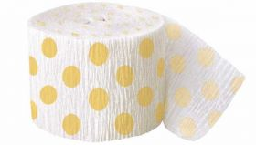 Yellow Polka Dot Crepe Streamer